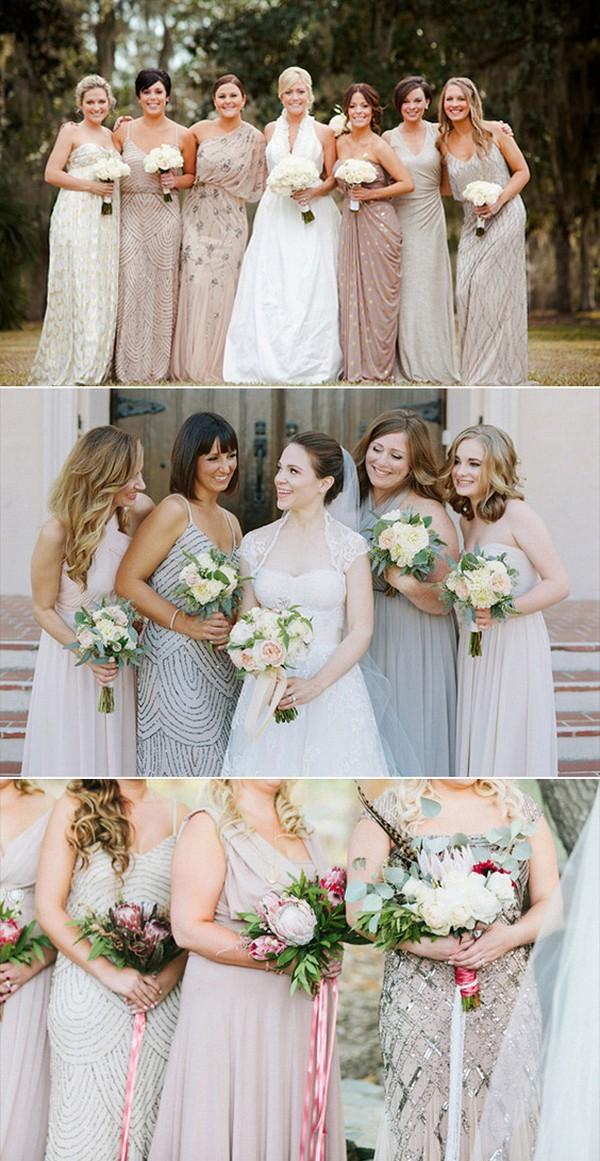 Beaded sequin and Chiffon Mismatched Bridesmaid Dresses