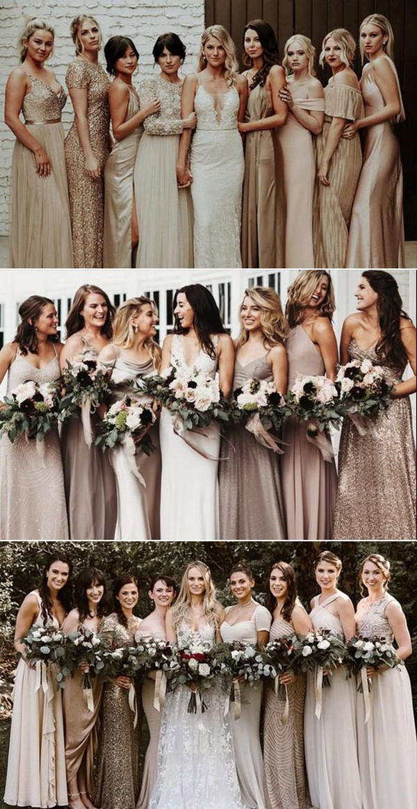 Chiffon and Lace Mismatched Bridesmaid Dresses