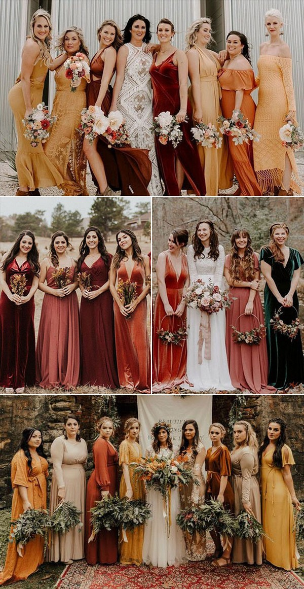 Chiffon and Velvet Mismatched Bridesmaid Dresses