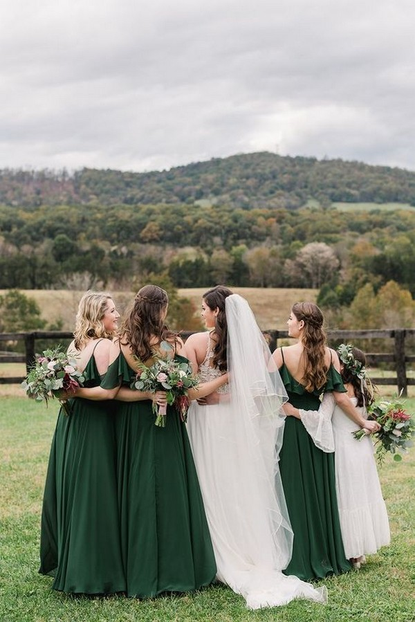 Dark green emerald green hunter green bridesmaid dresses