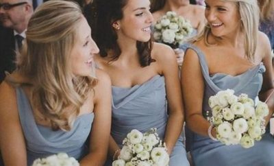 Dusty Blue Sleeveless Floor Length Sweetheart Chiffon Bridesmaid Dresses