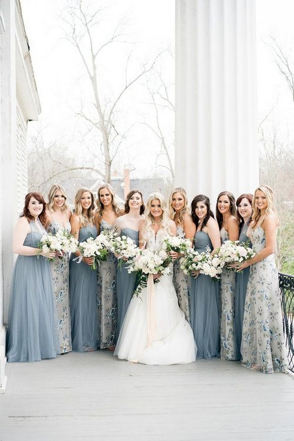 Dusty blue and floral mix and match jenny yoo bridesmaid dresses