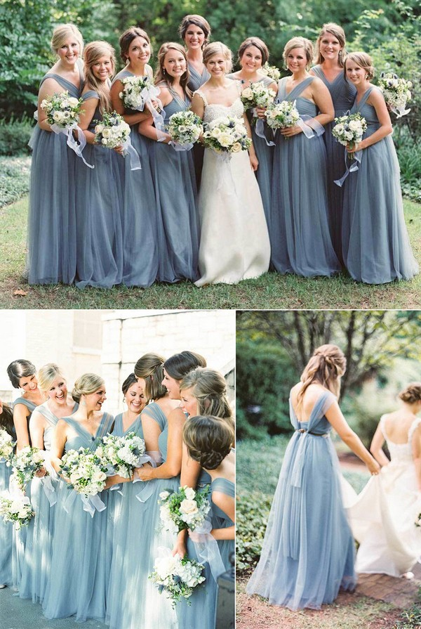 Dusty blue bridesmaid dress long chiffon dress