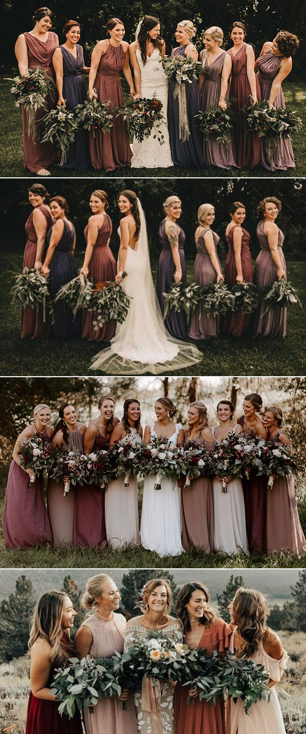 Earth Tones wedding ideas mix and match bridesmaids