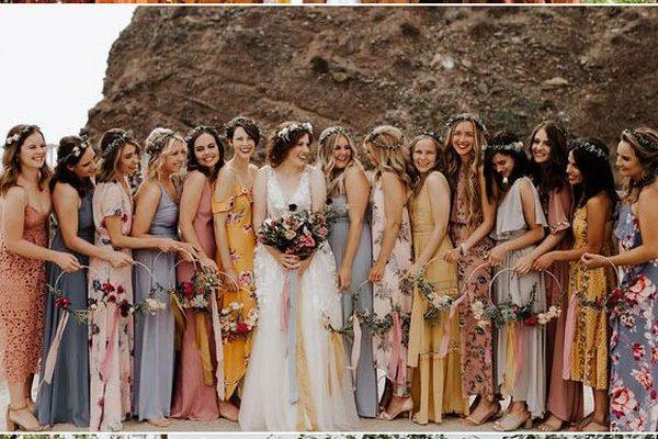 Mixing Fabrics Bridesmaid Dresses