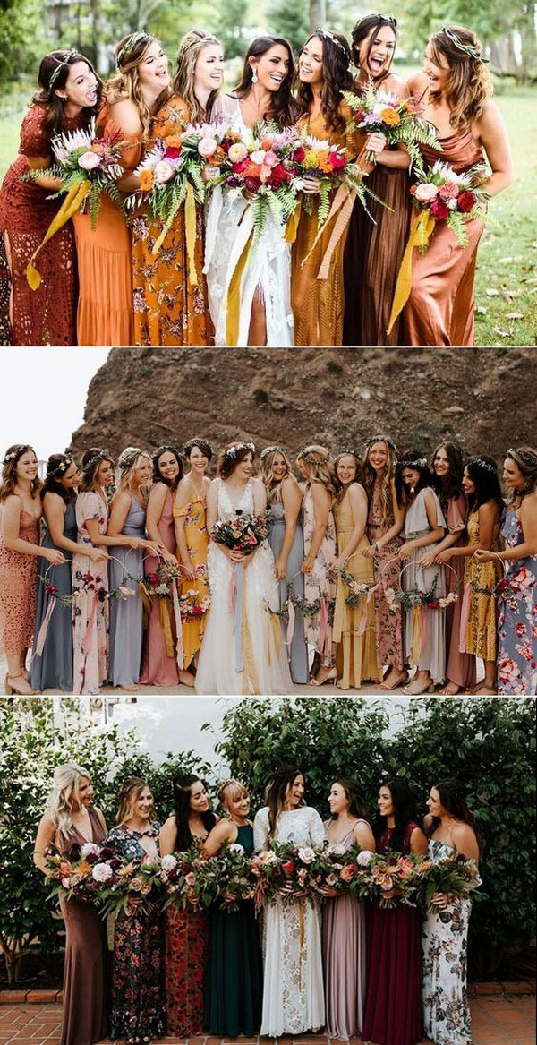 Floral Printed and Chiffon Mismatched Bridesmaid Dresses