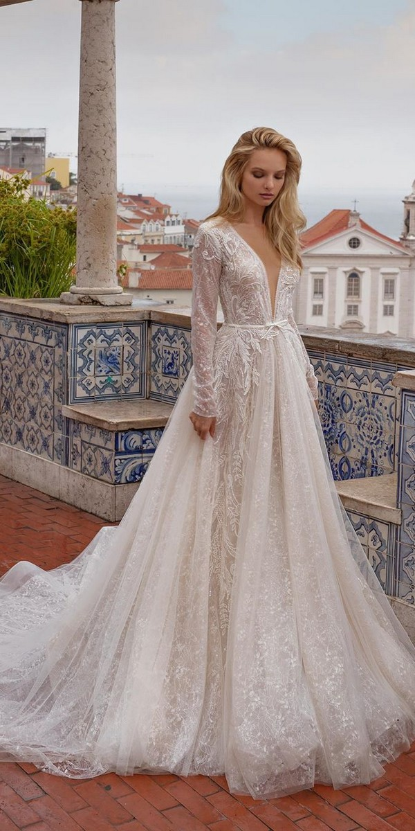 Long Sleeves Deep V neck Wedding Dresses - EvaLendel