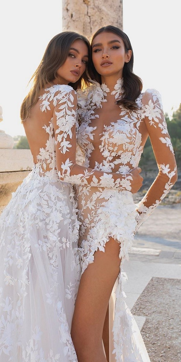 Long Sleeves Lace Wedding Dresses - PninaTornai