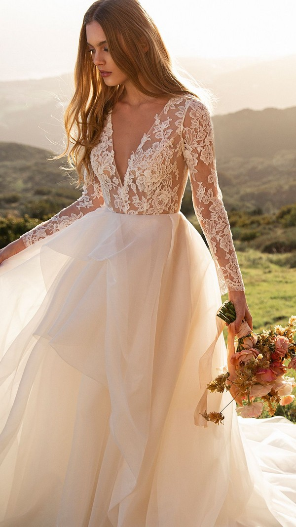 Long Sleeves Lace Wedding Dresses - The Valentina -Jenny yoo
