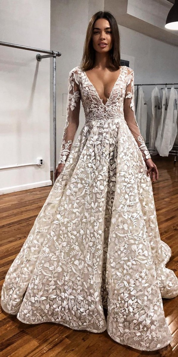 Long Sleeves V neck Wedding Dresses - berta
