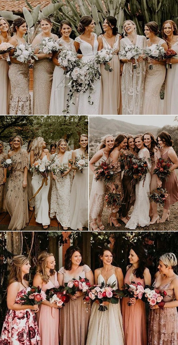 Sequin and Satin Mismatched Bridesmaid Dresses