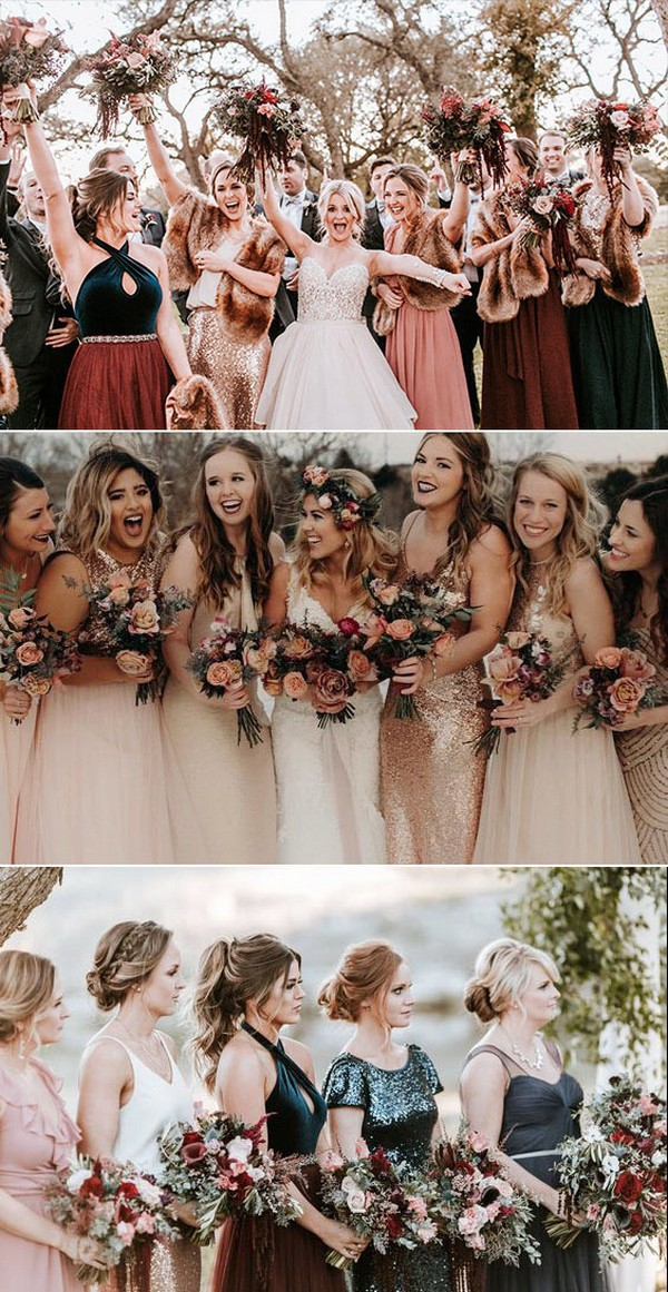 Sequins and Chiffon Mismatched Bridesmaid Dresses