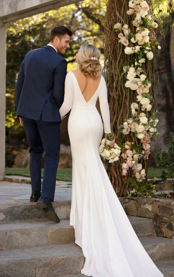 Simple and Sleek Long-Sleeved Sheath Wedding Dress by Essense of Australia