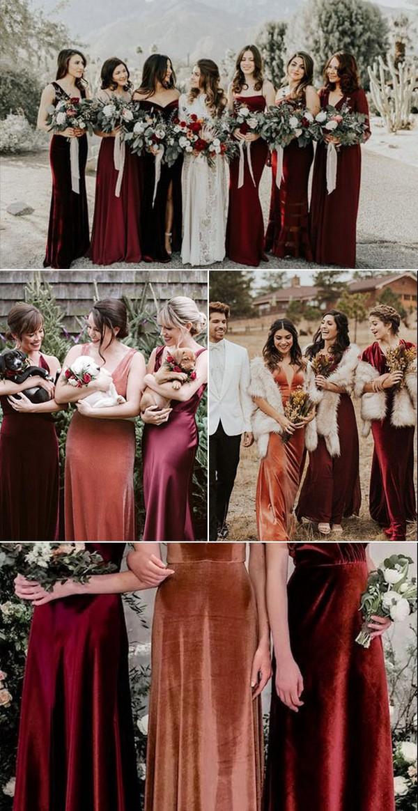 Velvet and Satin Mismatched Bridesmaid Dresses