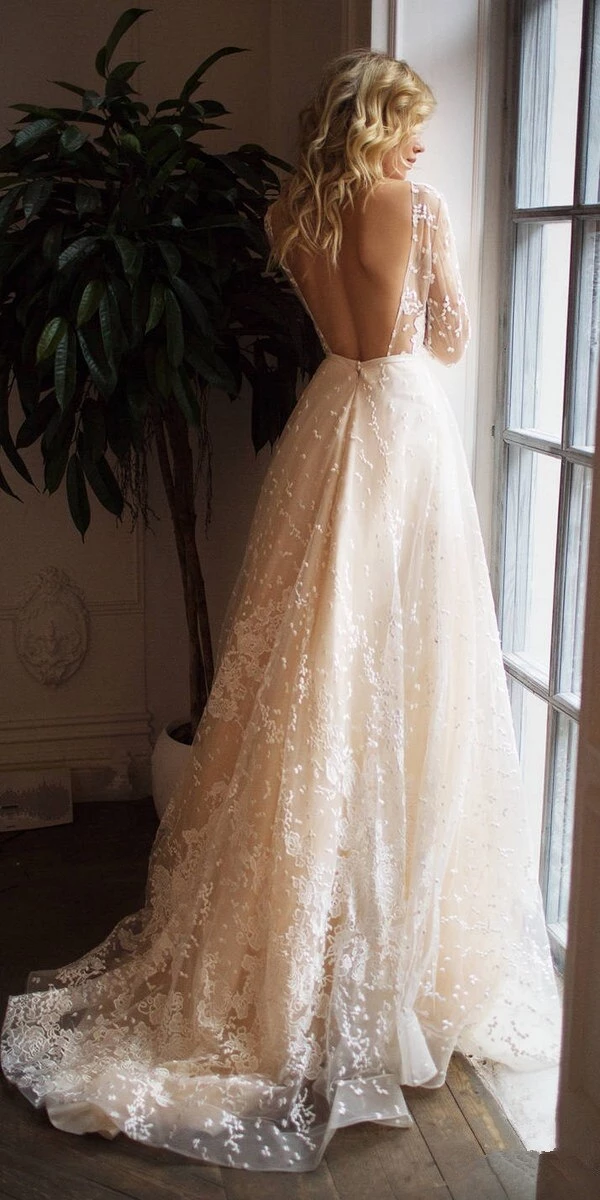 Wedding Dress Tulle Appliques Long Sleeves Backless