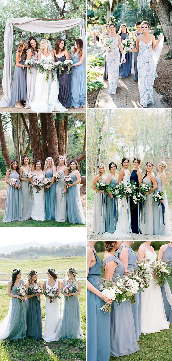 blue mixed bridesmaid dresses blue wedding color palette something blue