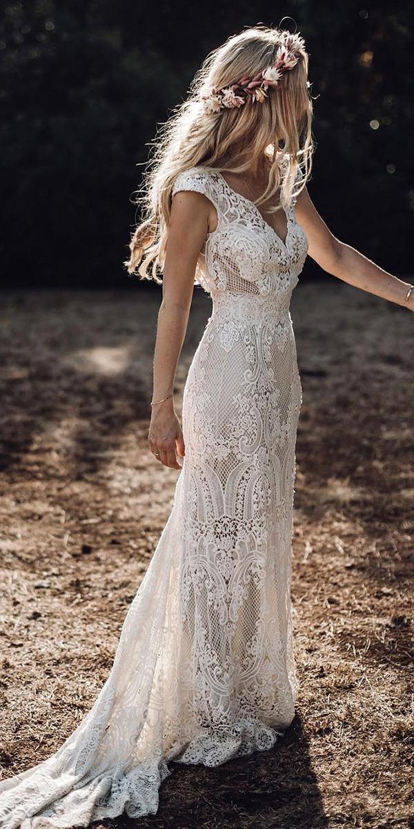 bohemian wedding dress sheath with cape sleeves lace rustic elbbraut