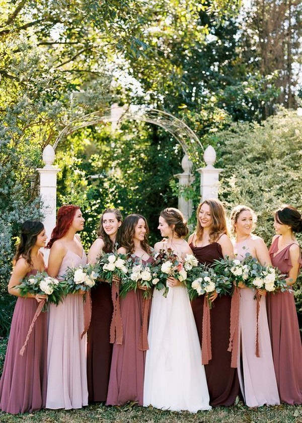 cinnamon rose and blush mismatched bridesmaid dresses