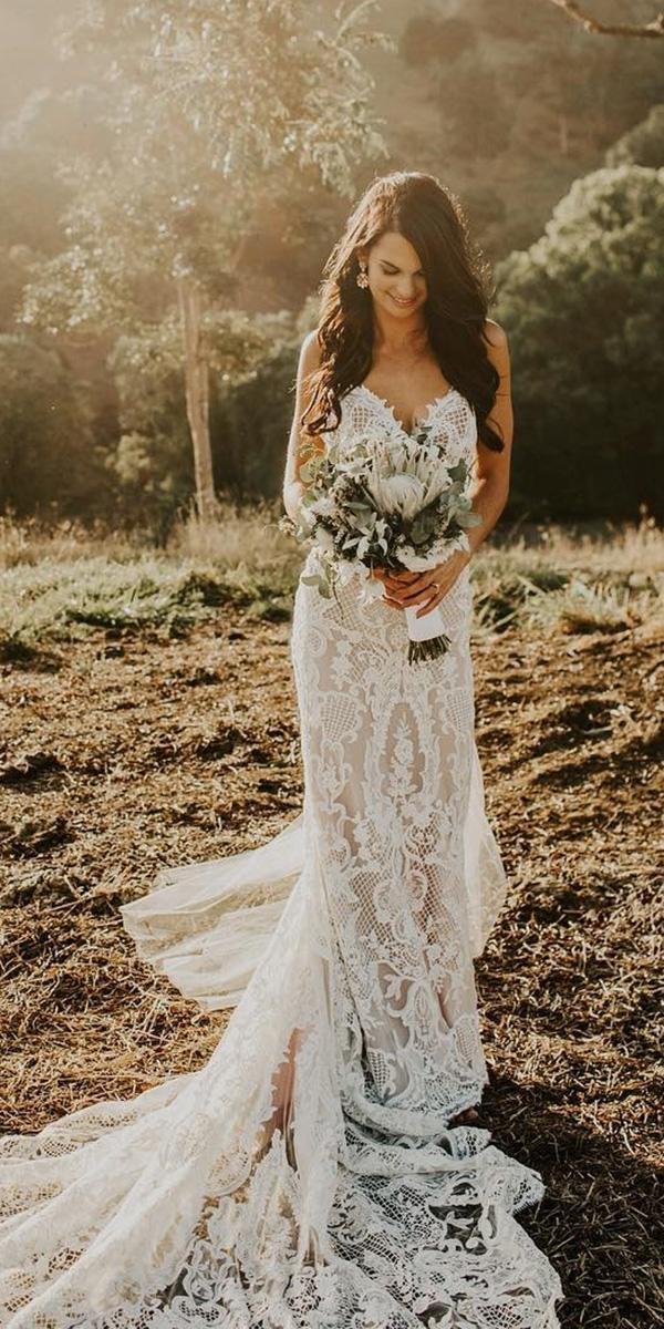 country wedding dresses sheath lace with train made with love bridal