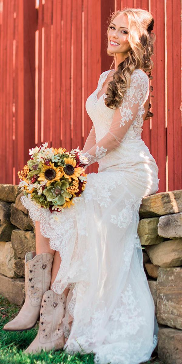 country wedding dresses with boots lace illusion long sleeves v neckline mattdayphoto