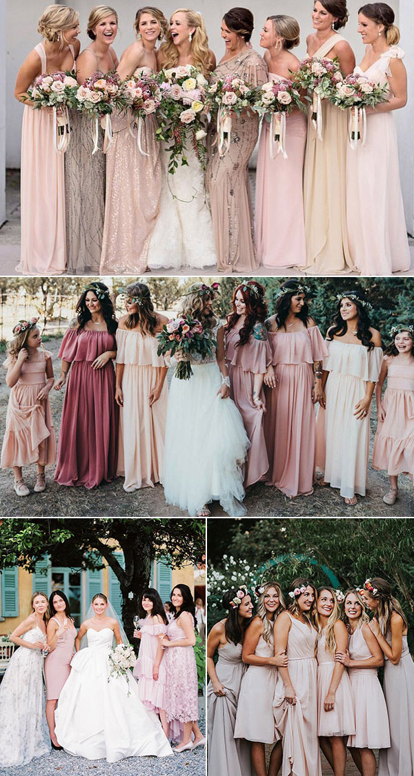 different color bridesmaid dresses pink wedding color palette