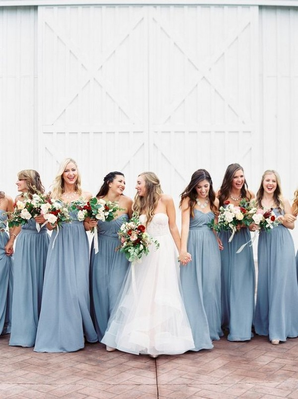 dusty blue bridesmaid dresses and burgundy bouquets
