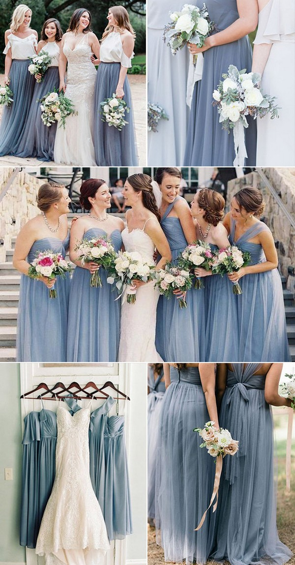 dusty blue steel blue bridesmaid dress ideas2