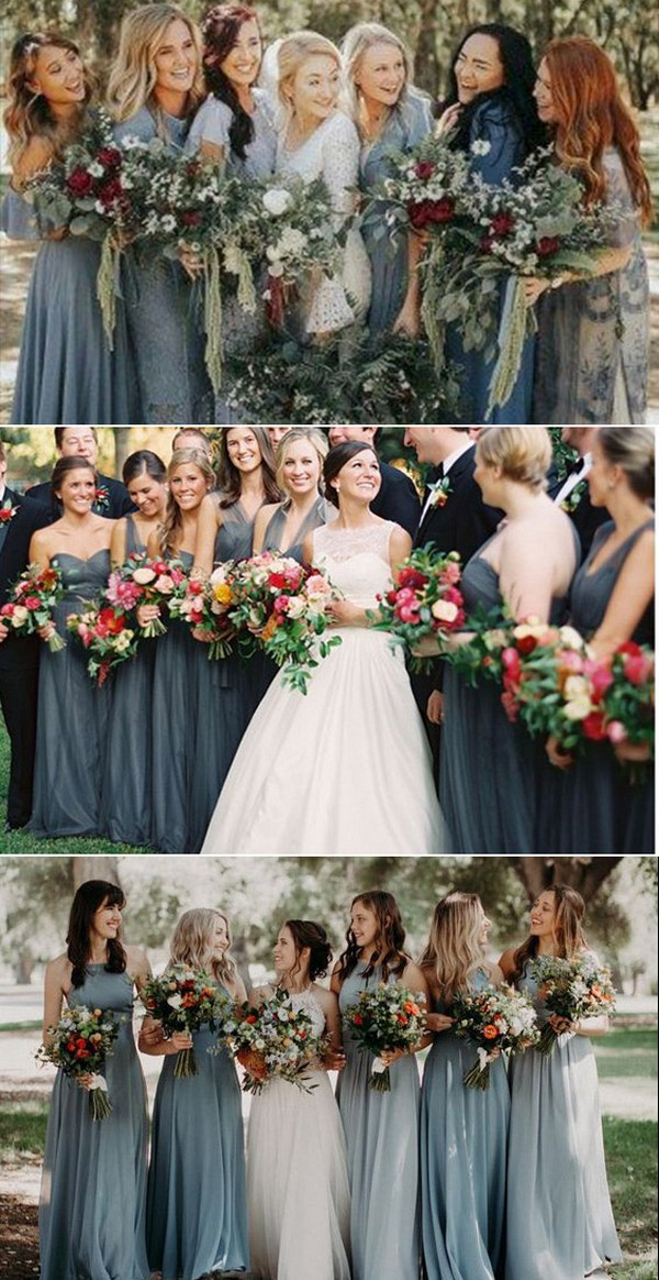 dusty blue steel blue bridesmaid dress ideas4