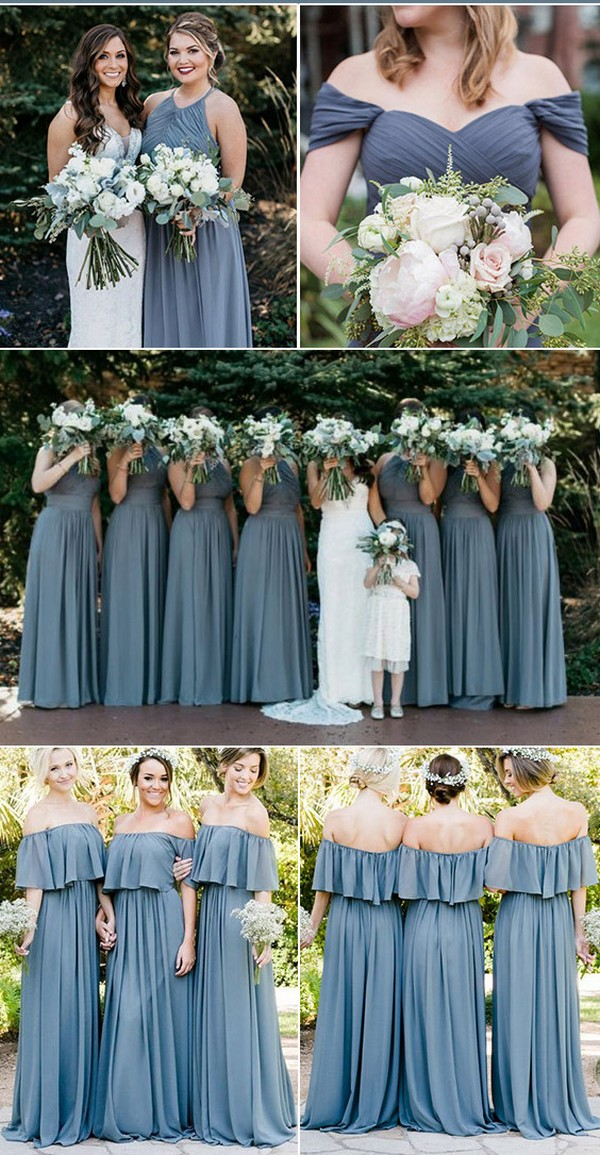 dusty blue steel blue bridesmaid dress ideas