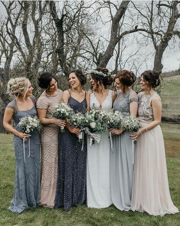 mismatched blue and blush bridesmaid dresses
