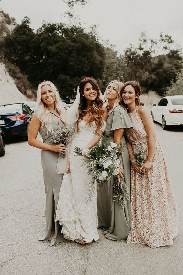 mismatched bridesmaid dresses in gray sage green and ivory