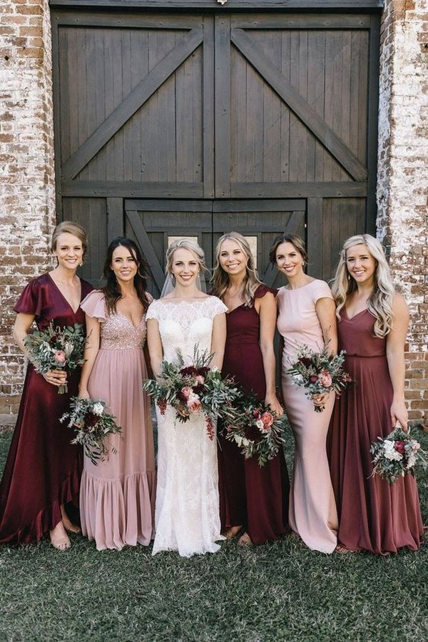 mix and match blush and burgundy bridesmaid dresses