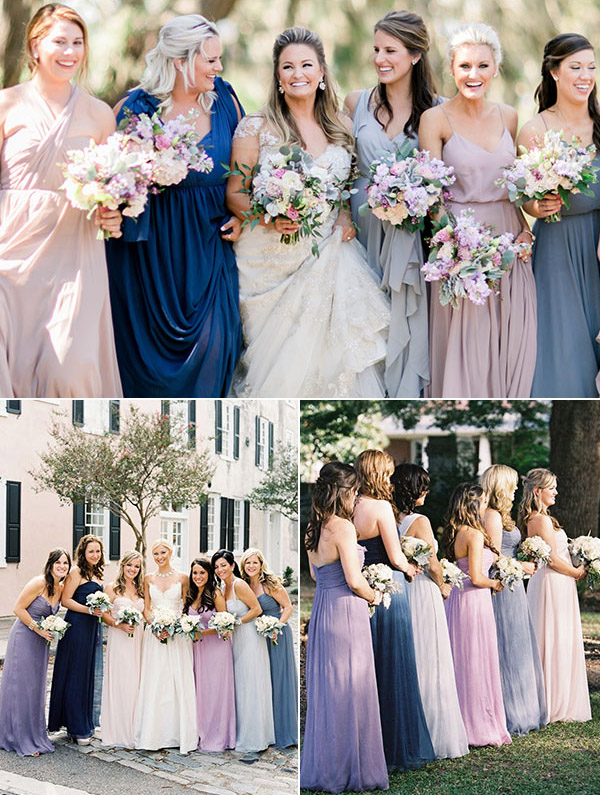 mix and match bridesmaids spring wedding ideas dusty blue blush