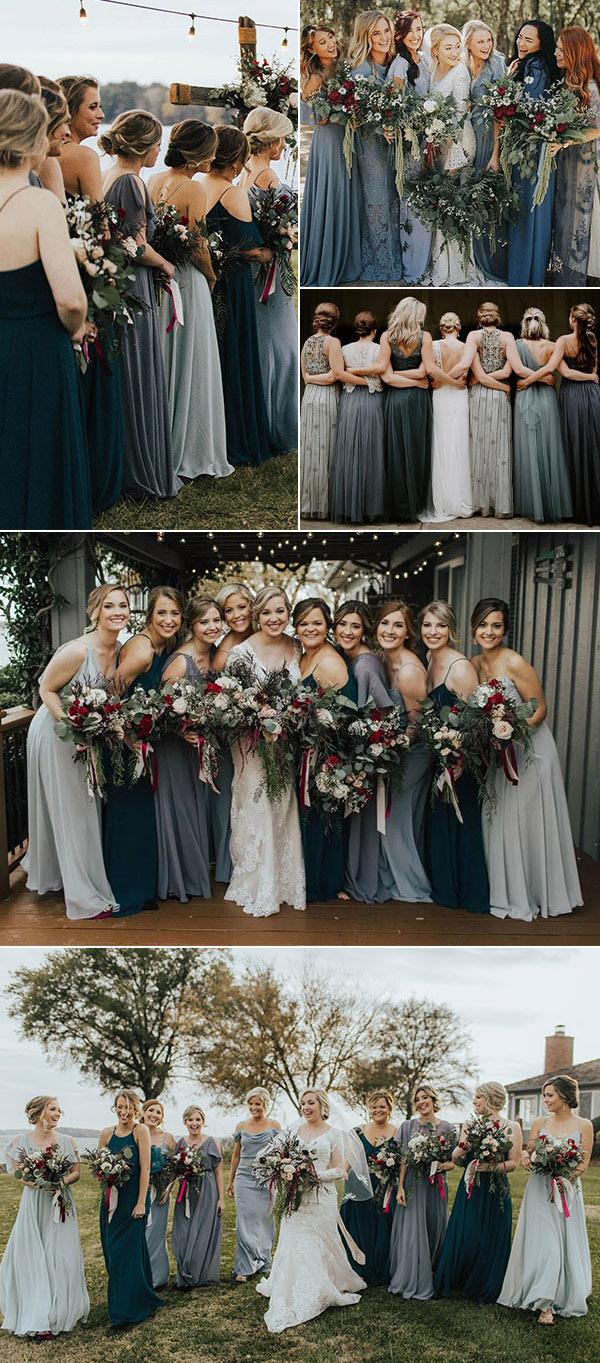 mix match bridesmaid dresses mix and match dress blue color wedding palette