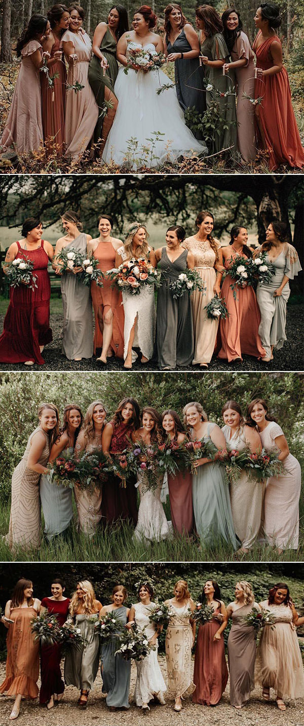 non matching bridesmaid dresses earth tones wedding color palette