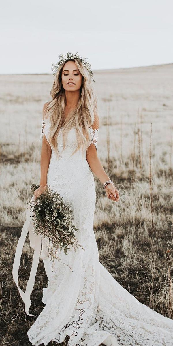 rustic lace wedding dresses sheath off the shoulder country lovers society