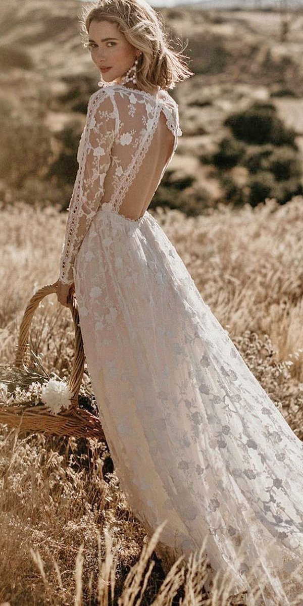 rustic wedding dresses a line open back with long sleeves lace dreamers and lovers