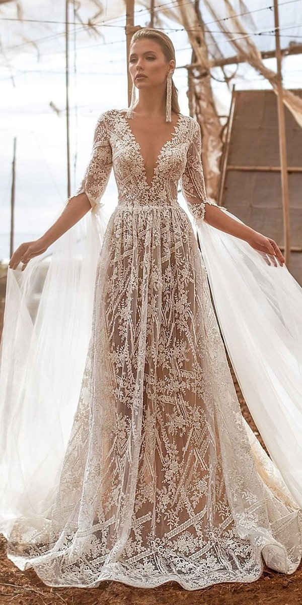 rustic wedding dresses a line with sleeves lace plunging neckline arivilloso