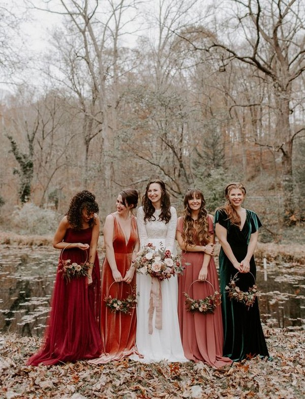 vintage mismatched fall bridesmaid dresses