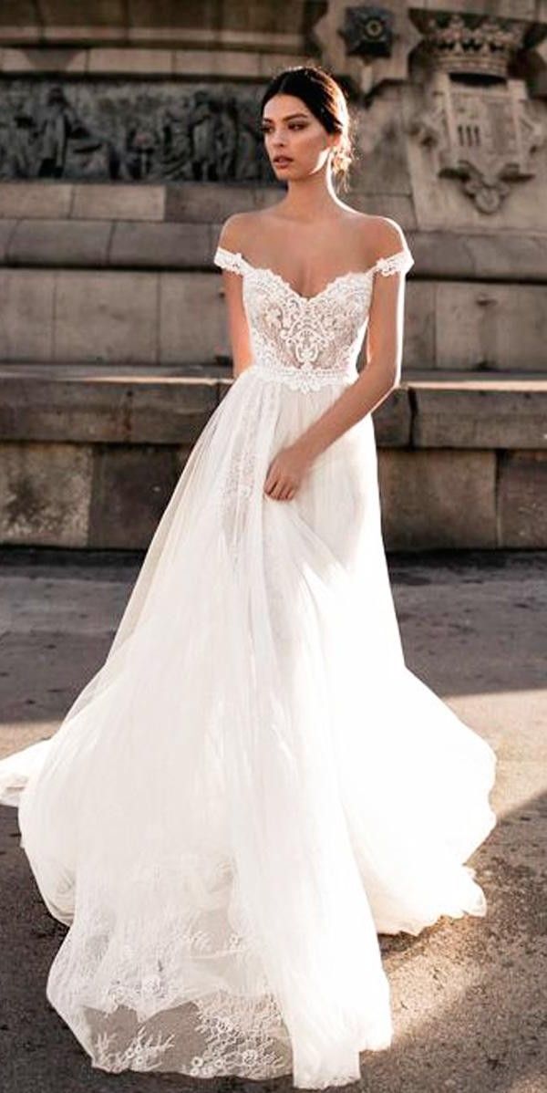 a line lace off the shoulder wedding dresses gali karten