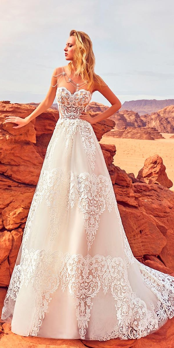 a line lace strapless sweetheart wedding dresses oksana mukha