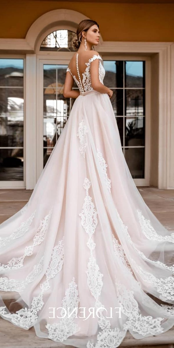 a line wedding dresses illusion back lace with buttons blush florence wedding