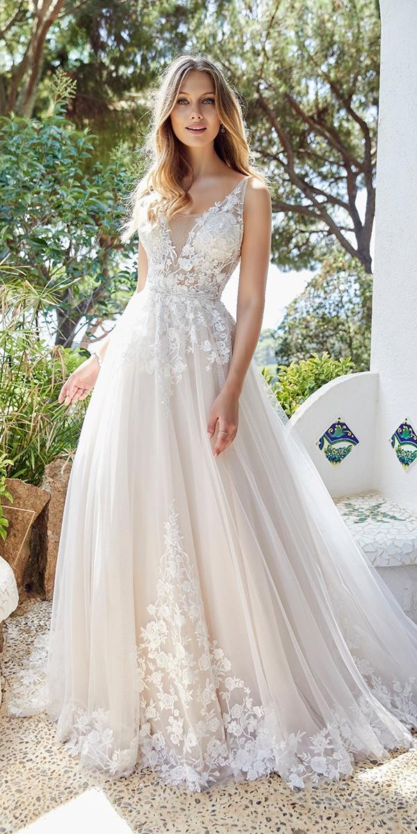 a line wedding dresses plunging neckline lace country ronaldjoyce 1
