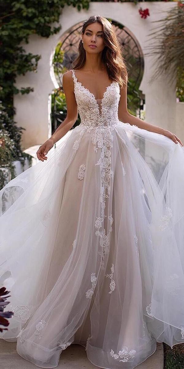 a line wedding dresses sweetheart neckline lace tulle skirt moonlightbridal