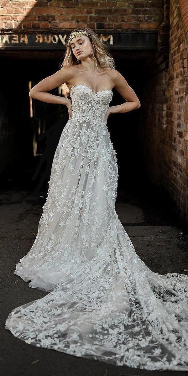 a line wedding dresses sweetheart strapless neckline with 3d floral galialahav