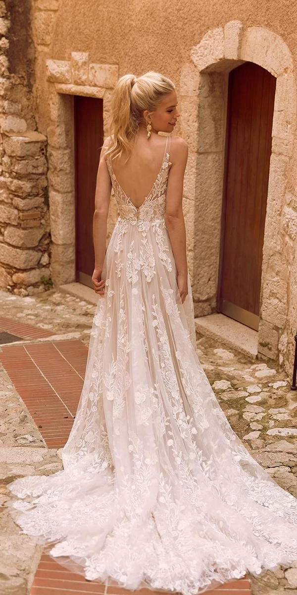 a line wedding dresses v back with straps floral appliques madilanebridal