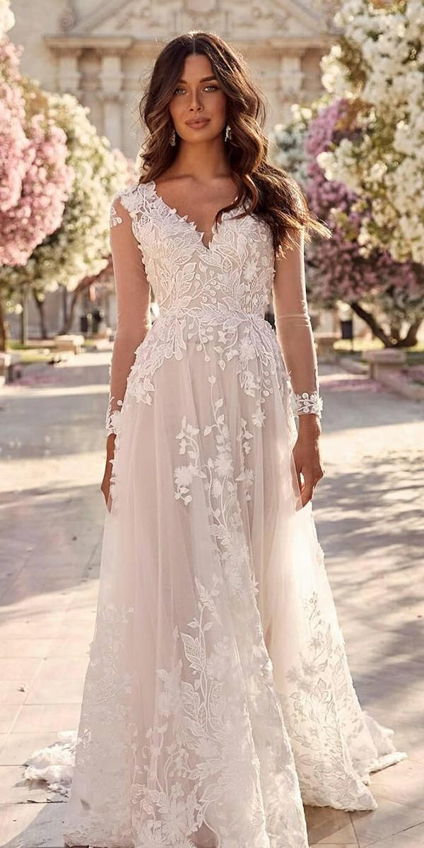 a line wedding dresses with illusion long sleeves floral country madilane