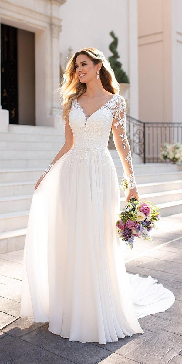 a line wedding dresses with illusion long sleeves v neckline lace stellayork