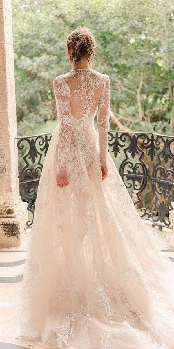 a line wedding dresses with illusion long sleeves with train moniquelhuillier