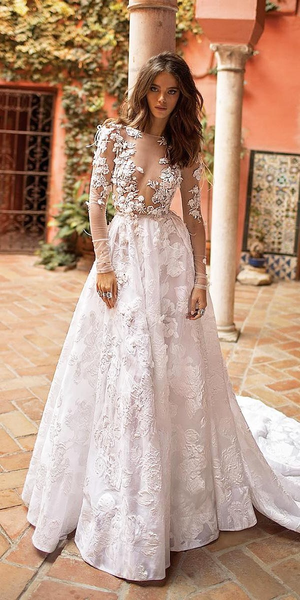 a line wedding dresses with long sleeves illusion neckline 3d floral sexy berta bridal